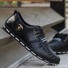 男休閒鞋皮鞋男鞋春季潮鞋男士商務鞋英倫休閒皮鞋一腳蹬懶人鞋韓版 快速出貨