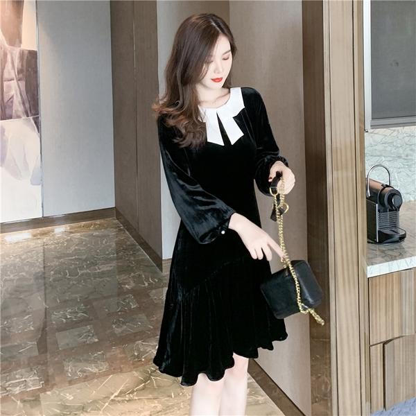 出清388 韓國風名媛撞色領結絲絨氣質修身長袖洋裝