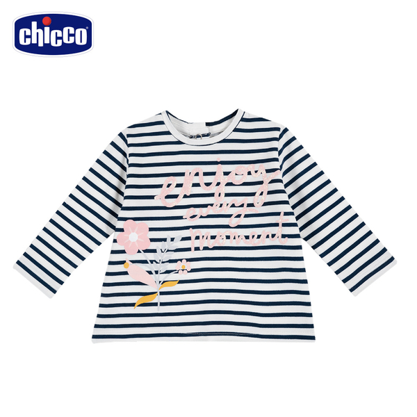 chicco-TO BE Baby-條紋花朵長袖上衣