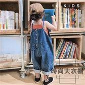 男女兒童裝復古文藝韓版牛仔闊腿褲吊帶背帶褲長褲【時尚大衣櫥】