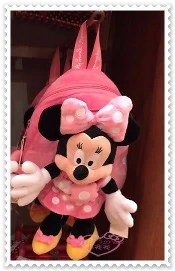 ♥小花花日本精品♥《Disney》迪士尼 米妮 後背包 玩偶造型 粉色點點 蝴蝶結香港限定 90210006