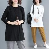 大碼遮肚子t恤收腰寬鬆洋氣減齡顯瘦文藝純色上衣2019春裝新款女 快速出貨