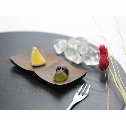 【天然原木作】閒情逸事二槽點心碟/餐盤/木盤/餐具 核桃木
