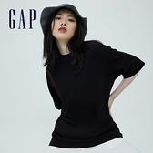 Gap女裝 厚磅密織系列基本款寬鬆廓形短袖T恤 701590-黑色