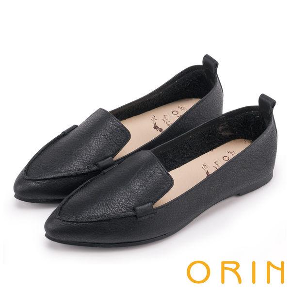 ORIN 優雅時髦 柔軟牛皮素面尖頭樂福鞋-黑色