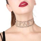 限定款鎖骨鍊 字母聚會項鍊鎖骨鍊女閃亮chocker項圈短版頸鍊