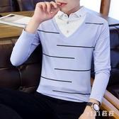 男士長袖t恤翻領韓版男裝polo衫秋衣襯衫領假兩件新款打底衫 XN4997【VIKI菈菈】