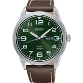 【台南 時代鐘錶 SEIKO】精工 SOLAR 樸實品味太陽能腕錶 SNE473P1@V158-0BC0G 皮帶 綠 44mm