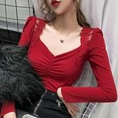 滿千免運~長袖T恤~3115#蕾絲花邊拼接甜美修身顯瘦長袖打底衫DC249A莎菲娜
