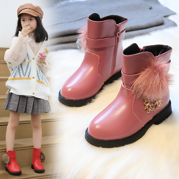 女童靴子2019秋季新款時尚冬季中筒靴加絨潮公主靴冬天小孩靴子女