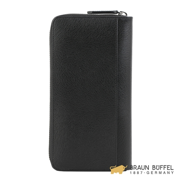 【BRAUN BUFFEL】提貝里烏斯-II系列22卡全開拉鍊長夾 - 黑色 BF348-601-BK