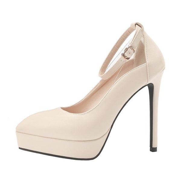 女高跟鞋 細跟高跟鞋 韓版時尚尖頭夜店性感防水臺女單鞋一字帶女高跟鞋《小師妹》sm3162