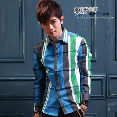美式經典大格紋壓釦長袖襯衫(共三色) 樂活衣庫【S803】
