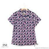 【INI】清新午後、復古碎花日系舒適綿麻衫.黑色