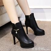 新款靴子女短靴馬丁靴高跟百搭防水臺圓頭細跟加絨女裸靴歐美 聖誕節全館免運