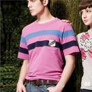 【蜜蜂家族】英國學院風剪接配色圓領短袖T恤M(永久性吸濕排汗布)