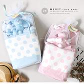 Kiktecoco寶寶10件套裝點點提袋組 口水巾 手套 彌月禮盒 寶寶 BABY 送禮 滿月禮 新生兒禮盒