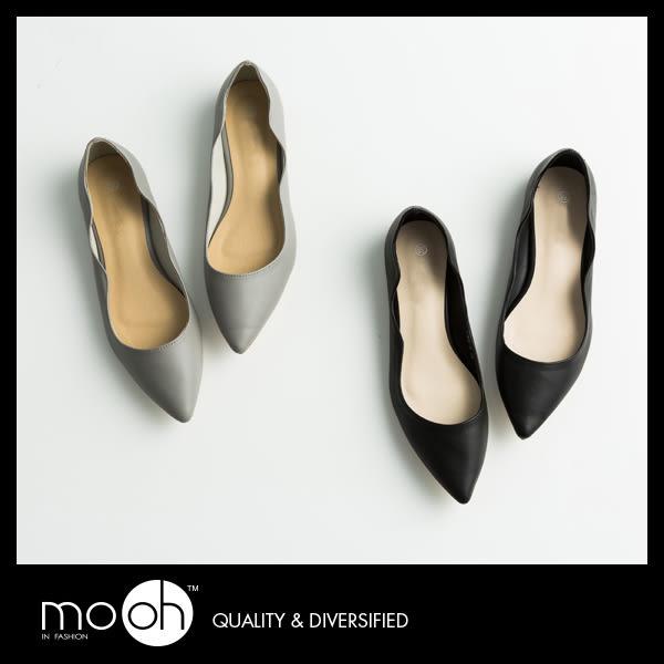 尖頭平底鞋  /歐美簡約尖頭波浪紋平底鞋 真皮質感OL上班鞋平底休閒鞋 mo.oh (歐美鞋款)