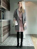 秋冬單一價[H2O]V領寬鬆版綁帶可當圍巾或綁腰兩用20%兔毛洋裝 - 黑/粉/淺藍色 #8630006