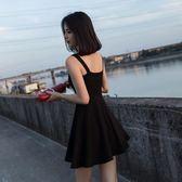 2018夏黑色禮服短款裙子吊帶連身裙小黑裙