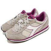 DIADORA 復古慢跑鞋 K Run 灰 紫 基本款 經典款 全真皮鞋面 運動鞋 女鞋【PUMP306】 DA159554C5907