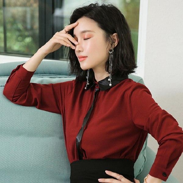 美之札[8Q185-PF]成熟女伶撞色翻領OL長袖襯衫上衣