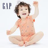 Gap嬰兒 布萊納系列 純棉紮染短袖包屁衣 734846-粉橘