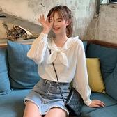 韓版學院風娃娃領木耳邊襯衫女設計感小眾夏季長袖上衣2021新款 【端午節特惠】