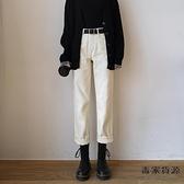 米白色寬松直筒牛仔褲女春夏高腰顯瘦闊腿老爹褲子【毒家貨源】