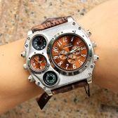 Oulm歐鐳幾何圓盤創意手錶概念男表歐美大盤嘻哈手錶陸軍手錶1349 卡布奇诺