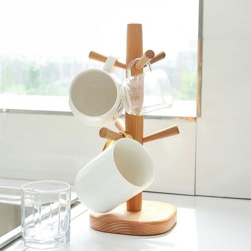 【超取499免運】歐式原木直立杯架 創意時尚收納架 簡約櫸木六爪杯架
