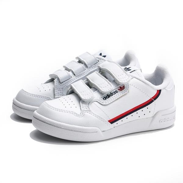 ADIDAS CONTINENTAL 80 CF C 白 皮革 紅藍線 魔鬼氈 運動 休閒鞋 中童 (布魯克林) EH3222