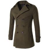 風衣外套-毛呢雙排扣修身純色商務男大衣4色73tz18[巴黎精品】