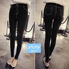 【V4364】shiny藍格子-織細視覺.超顯瘦修身高腰小腳牛仔褲