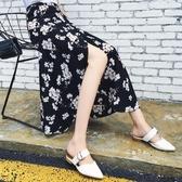 雪紡半身裙女夏韓版百搭一片式小碎花系帶時尚高腰中長款沙灘裙子Mandyc
