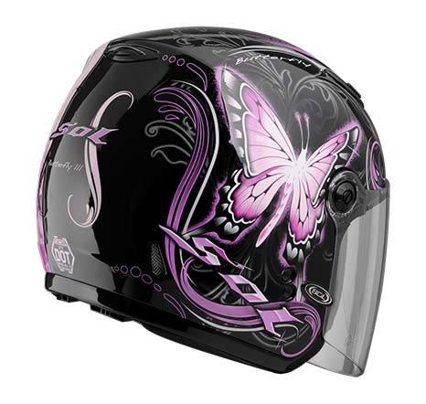 [東門城] SOL SL-27Y 蝴蝶三代 黑粉 3/4罩安全帽