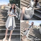洋裝女夏2021新款法式襯衫裙收腰顯瘦氣質時髦白領女神范雪紡裙 范思蓮恩