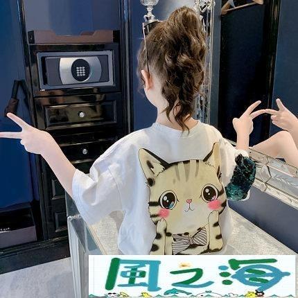 兒童短袖上衣女童短袖T恤夏季寬鬆洋氣童裝韓版純棉半袖兒童夏裝上衣潮 風之海