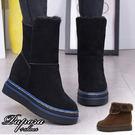 雪靴‧保暖二穿式內裡毛內增高中筒靴子【KY820】黑色/卡其