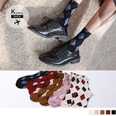 《ZB0990》韓國製造.菱格紋質感長襪/中筒襪 OrangeBear