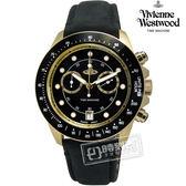 Vivienne Westwood / VV118BKBK / Barbican 時尚天王雙環計時皮革手錶 黑色 42mm