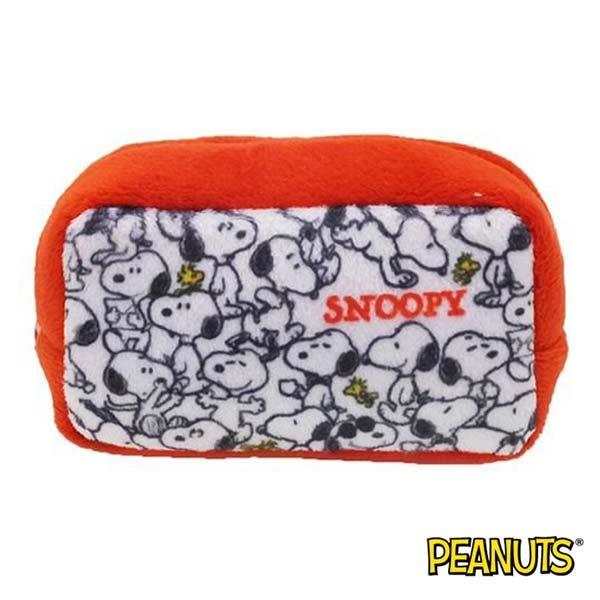 【日本進口正版】史努比 Snoopy 滿版款 棉質 長型 收納包 零錢包 PEANUTS - 293299
