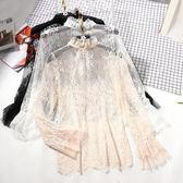 秋季新品女士薄款鉤花鏤空內搭套頭網紗上衣長袖立領蕾絲衫打底衫