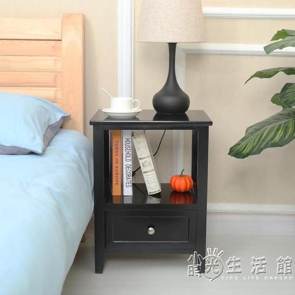 黑色免安裝木質經濟型家用床頭櫃40cm臥室簡約唯美收納櫃白色邊櫃WD 中秋節全館免運