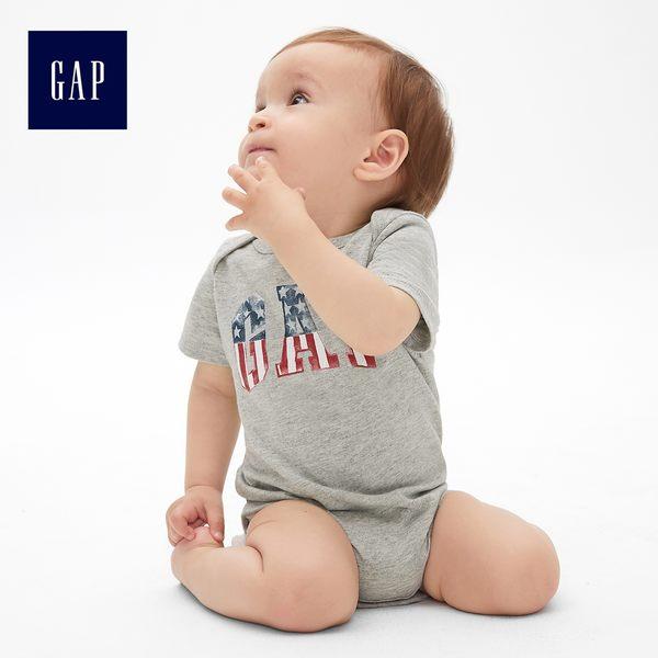 Gap男嬰兒 Logo短袖圓領包屁衣 466566-淺麻灰