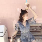 抹胸連身褲2019夏季新款海邊度假連身褲闊腿短褲網紗刺繡露背V領洋裝褲女 蘿莉小腳丫