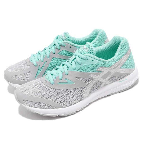 Asics 慢跑鞋 Amplica 灰 藍 輕量透氣 基本款 女鞋 運動鞋【PUMP306】 T875N9693