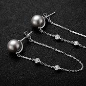 耳環 925純銀珍珠-簡約獨特生日情人節禮物女耳針73gt42[時尚巴黎]
