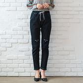 保暖--韓版可愛貓咪刺繡鬆緊綁繩口袋修身顯瘦黃金絨九分褲(黑.藍M-5L)-N78眼圈熊中大尺碼◎