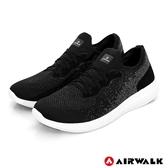【AIRWALK】浮光掠影編織運動鞋-黑-男款